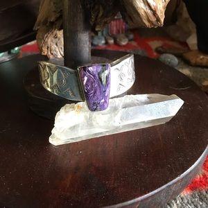 Navajo Sterling Silver and Charoite Bracelet